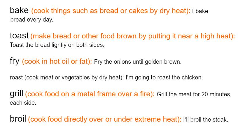 Synonyms bake